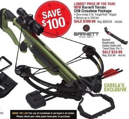 Cabelas Black Friday: Barnett Terrain CXB Crossbow Package for $199.99