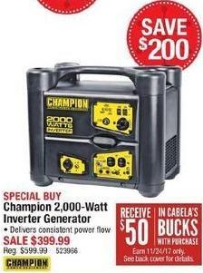 Cabelas Black Friday: Champion 2,000-Watt Inverter Generator + $50 Cabela's Bucks for $399.99