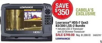Cabelas Black Friday: Lowrance HDS-7 Gen3 83/200 LSS-2 Bundle for $749.00