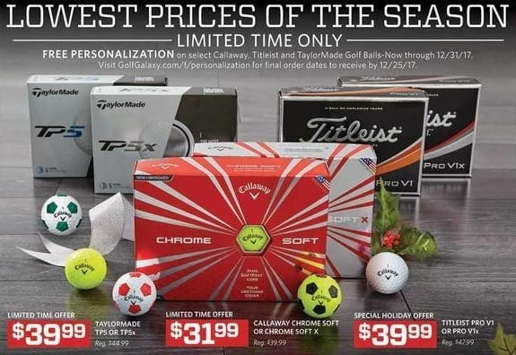 Golf Galaxy Black Friday: Personalization w/ Purchase of Select Callaway, Titleist and Taylormade Golf Balls for Free
