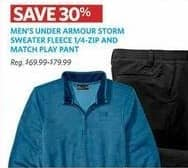 Golf Galaxy Black Friday: Under Armour Men's Storm Sweater Fleece 1/4-Zip and Match Play Pant - 30% Off