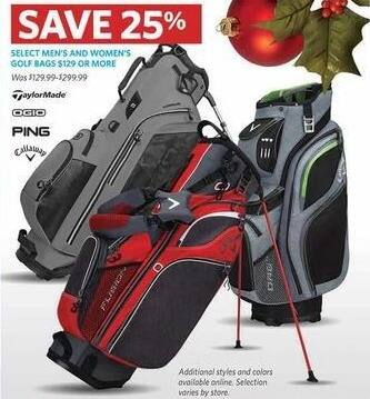 Golf Galaxy Black Friday: Select Men's and Women's Golf Bags Regularly Priced $129 or More - 25% Off