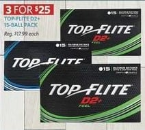 Golf Galaxy Black Friday: (3) Top-Flite D2+ 15-Ball Packs for $25.00
