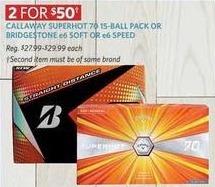 Golf Galaxy Black Friday: (2) Bridgestone e6 Soft or e6 Speed Packs for $50.00