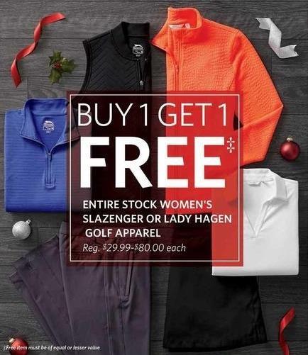 Golf Galaxy Black Friday: Entire Stock Lady Hagen or Slazenger Women's Golf Apparel - B1G1 Free