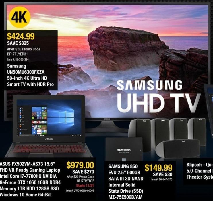 "Newegg Black Friday: 50"" Samsung UN50MU6300FXZA 4K Ultra HD Smart TV for $479.99"