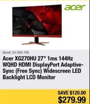"Newegg Black Friday: 27"" Acer XG270HU Free Sync Widescreen LED Backlight LCD Monitor for $279.99"
