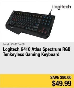 Newegg Black Friday: Logitech G410 Atlas Spectrum Tenkeyless Gaming Keyboard for $49.99