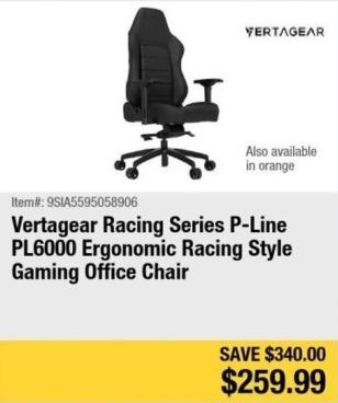 Newegg Black Friday: Vertagear Racing Series PL6000 Ergonomic Racing Gaming Office Chair for $259.99