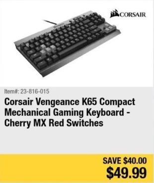 Newegg Black Friday: Corsair Vengeance K65 Compact Cherry MX Red Mechanical Gaming Keyboard for $49.99