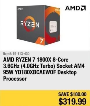 Newegg Black Friday: AMD Ryzen 7 1800X 8-Core 3.6Ghz Desktop Processor for $319.99