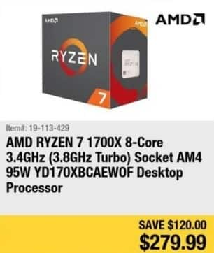 Newegg Black Friday: AMD Ryzen 7 1700X 8-Core 3.4Ghz Desktop Processor for $279.99