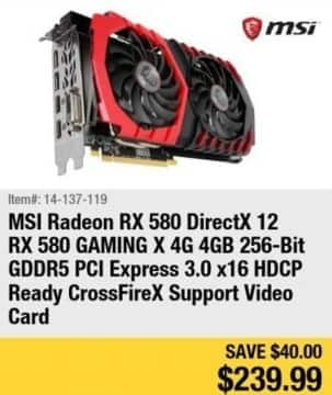 Newegg Black Friday: MSI Radeon RX 580 Gaming X 4GB GDDR5 Video Card for $239.99