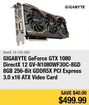 Newegg Black Friday: Gigabyte GeForce GTX 1080 8GB GDDR5X Video Card