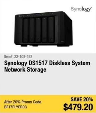 Newegg Black Friday: Synology DS1517 Diskless System Network Storage for $479.20