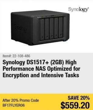 Newegg Black Friday: Synology DS1517+ 2GB High Performance Network Attached Storage for $559.20