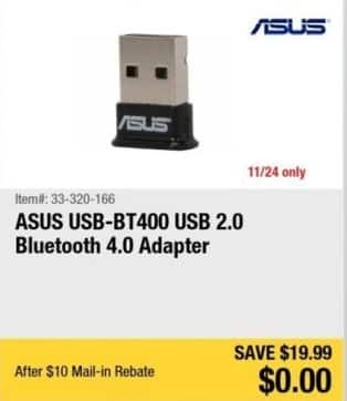 Newegg Black Friday: ASUS USB Bluetooth 4.0 Adapter for Free after $10.00 rebate