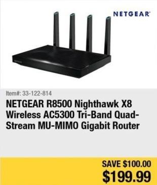 Newegg Black Friday: Netgear R8500 Nighthawk X8 Wireless AC5300 Tri-Band Gigabit Router for $199.99