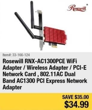 Newegg Black Friday: Rosewill WiFi Adapter PCI-E Network Card for $34.99