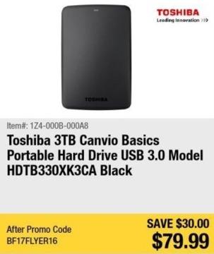 Newegg Black Friday: 3TB Toshiba Canvio Basics Portable Hard Drive for $79.99