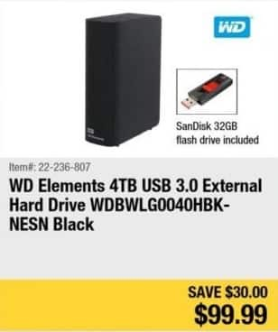 Newegg Black Friday: 4TB WD Elements External Hard Drive + 32GB SanDisk Flash Drive for $99.99