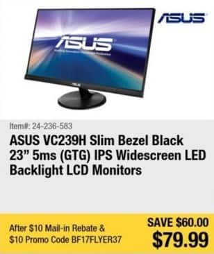 """Newegg Black Friday: 23"""" Asus VC239H IPS Widescreen LED Backlight LCD Monitor for $79.99 after $10.00 rebate"""