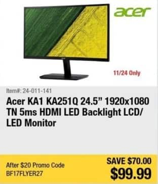 "Newegg Black Friday: 24.5"" Acer KA1 KA251Q LED Backlight LCD/LED Monitor for $99.99"