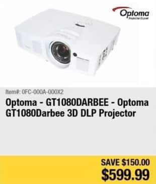 Newegg Black Friday: Optoma 3D DLP Projector (GT1080DARBEE) for $599.99