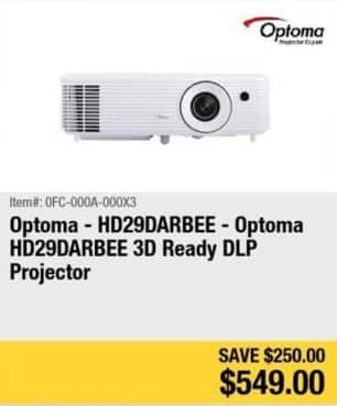Newegg Black Friday: Optoma 3D Ready DLP Projector (HD29DARBEE) for $549.00