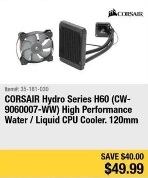 Newegg Black Friday: Corsair Hydro Series H60 High Performance Liquid CPU Cooler for $49.99