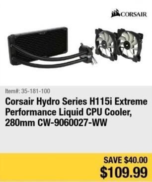 Newegg Black Friday: Corsair Hydro Series H115i Extreme Performance Liquid CPU Cooler for $109.99