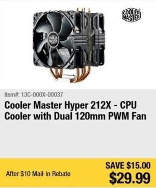 Newegg Black Friday: Cooler Master Hyper 212X CPU Cooler for $29.99 after $10.00 rebate