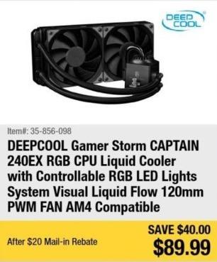 Newegg Black Friday: Deepcool Gamer Storm Captain 240EX Liquid CPU Cooler for $89.99 after $20.00 rebate