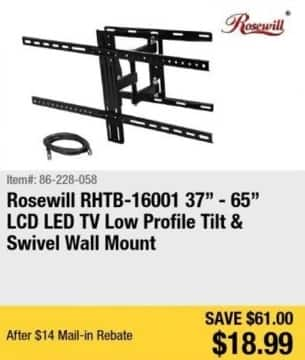 """Newegg Black Friday: Rosewill 37-65"""" TV Low Profile Tilt and Swivel Wall Mount for $18.99 after $14.00 rebate"""