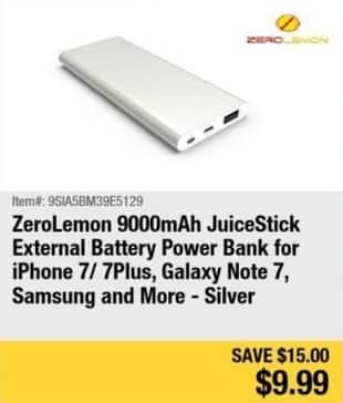 Newegg Black Friday: ZeroLemon 9000mAh JuiceStick External Battery Power Bank for $9.99