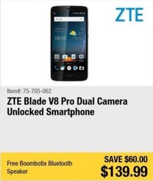 Newegg Black Friday: ZTE Blade V8 Pro Dual Camera Unlocked Smartphone + Boombotix Bluetooth Speaker for $139.99