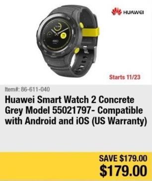 Newegg Black Friday: Huawei Smart Watch 2 (Concrete Gray) for $179.00