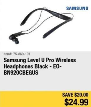 Newegg Black Friday: Samsung Level U Pro Wireless Headphones (Black) for $24.99