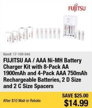 Newegg Black Friday: Fujitsu AA/AAA Ni-MH Battery Charger Kit: 8 Pack AA 1900mAh and 4 Pack AAA 750mAh Rechargeables Batteries, 2 D and 2 C Size Spacers for $14.99 after $10.00 reb
