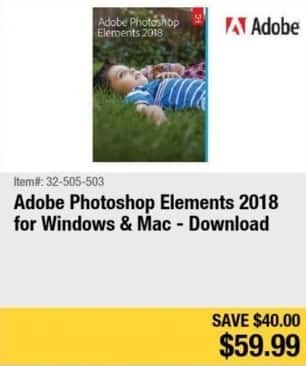 Newegg Black Friday: Adobe Photoshop Elements 2018 Download (PC/MAC) for $59.99