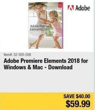 Newegg Black Friday: Adobe Premiere Elements 2018 Download (PC/MAC) for $59.99