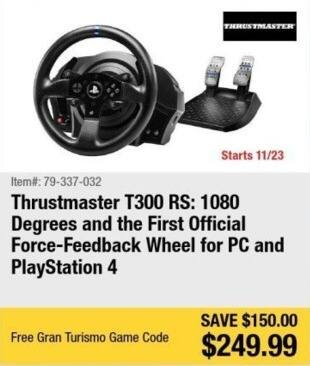 Newegg Black Friday: Thrustmaster T300 RS Force-Feedback Wheel for PC and PS4 + Gran Turismo Game Code for $249.99