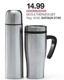 Stage Stores Black Friday: Sharper Image Mug and Thermos Set for $14.99