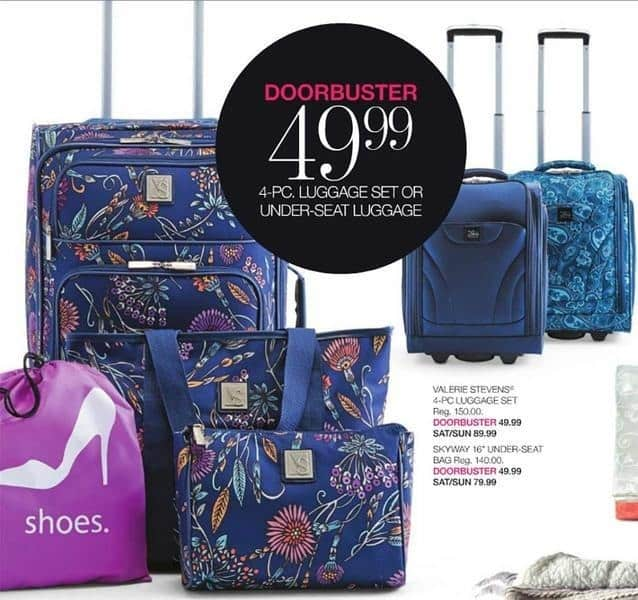 Stage Stores Black Friday: Valerie Stevens 4-pc Luggage Set for $49.99