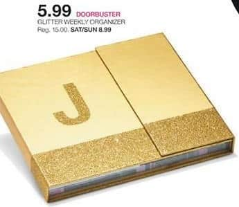 Stage Stores Black Friday: Glitter Weekly Organizer for $5.99