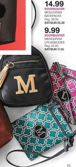 Stage Stores Black Friday: Monogram Crossbodies for $9.99