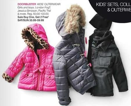 Stage Stores Black Friday: Girls' and Boys' Outerwear: London Fog, Jessica Simpson, Pacific Trail & More - B1G2 Free