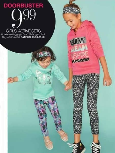Stage Stores Black Friday: Girls' Active Hoodie and Leggings Sets for $9.99