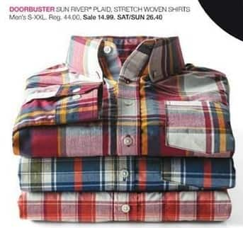 Stage Stores Black Friday: Sun River Men's Plaid Stretch Woven Shirts for $14.99