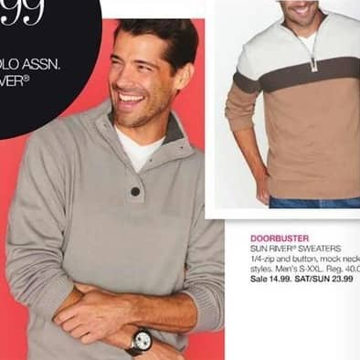 Stage Stores Black Friday: Sun River Men's 1/4-Zip, Button and Mock Neck Sweaters for $14.99